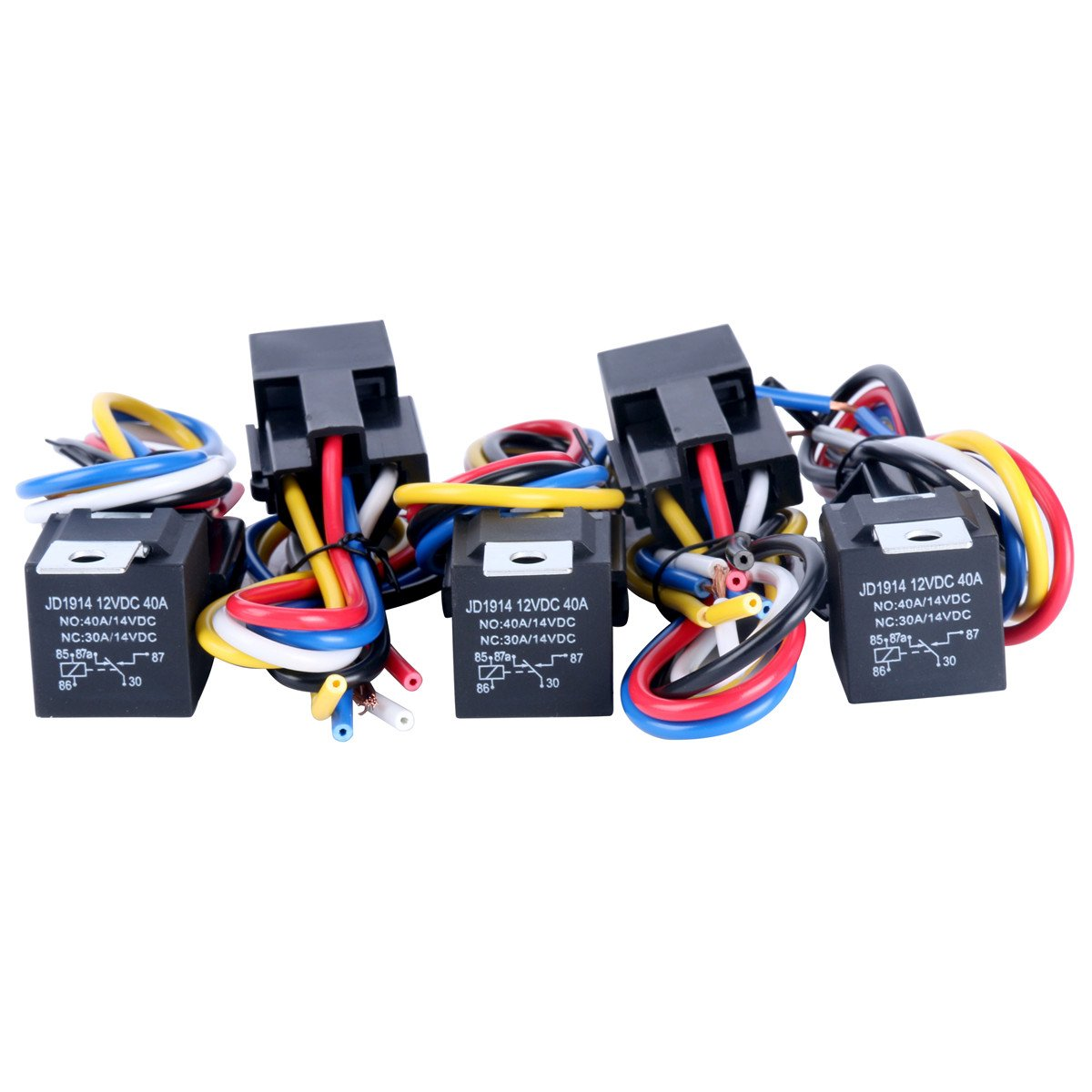 8milelake (5 pack) 12V 30/40 AMP SPDT Automotive Relay with Wires & Harness Socket freebirdtrading