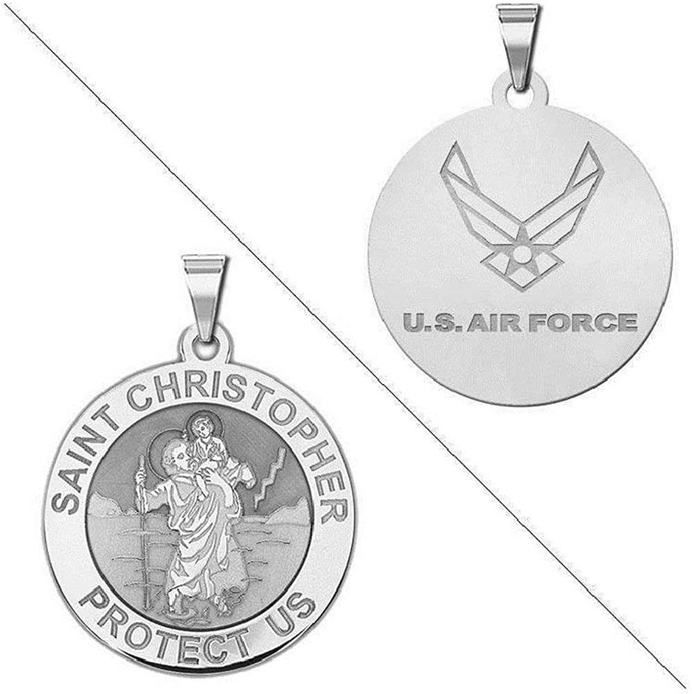 """18/"""" Italian Box Chain Sterling Silver U.S Air Force Medal Pendant"""