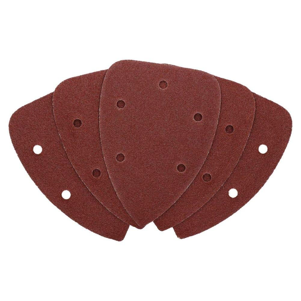Hook and Loop Detail Sanding Pads Discs 140mm Triangular 120 Grit Fine 5pc