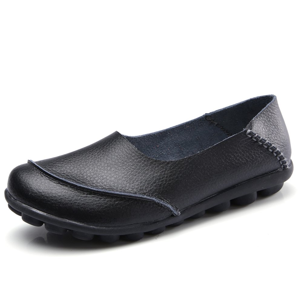 KISFLY Comfortable Round Toe Leather Loafers - Casual Flat Sandals Breathable Summer Driving Slip-on Shoes Black Size 7.5