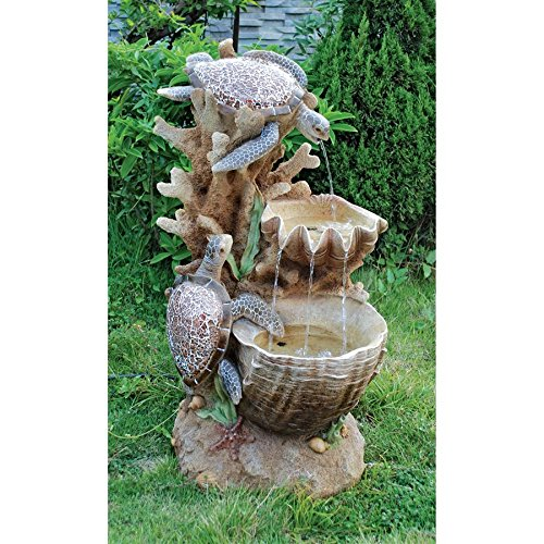 Standing Frog Fountain - Water Fountain with LED Light - Nearly 3 Foot Tall Sea Turtle Cove Garden Decor Fountain - Outdoor Water Feature