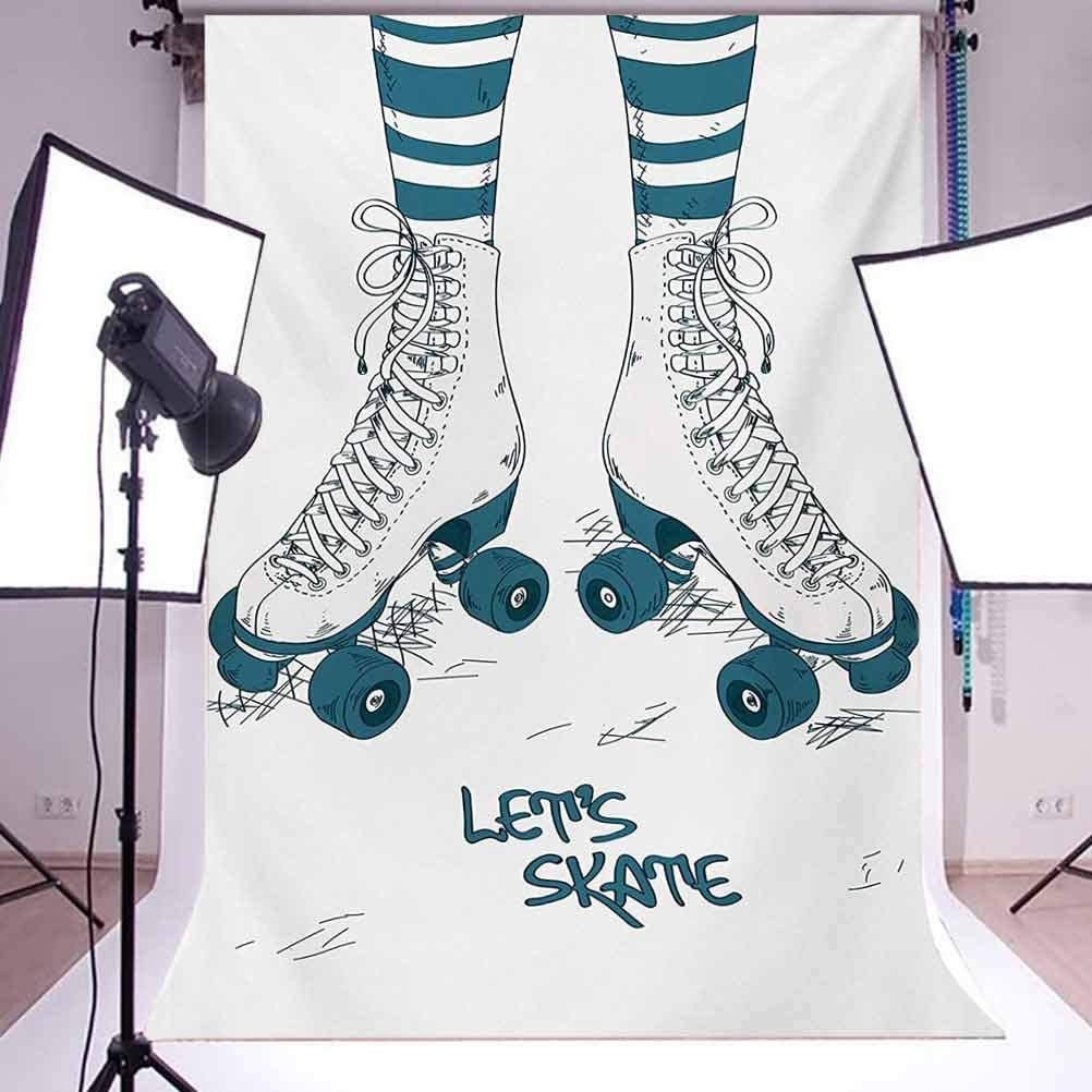 Retro 6.5x10 FT Photo Backdrops,Girls Legs in Stripes Stockings and Retro Roller Skates Fun Teen Illustration Print Background for Baby Birthday Party Wedding Vinyl Studio Props Photography Teal Whit