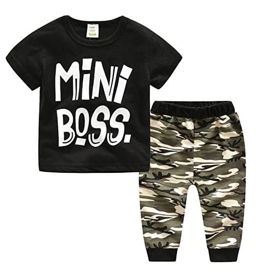 1f7acf0f7 Toddler Baby Boys Mini Boss Print Short Sleeve T-Shirt Top Camouflage Long  Pant Size