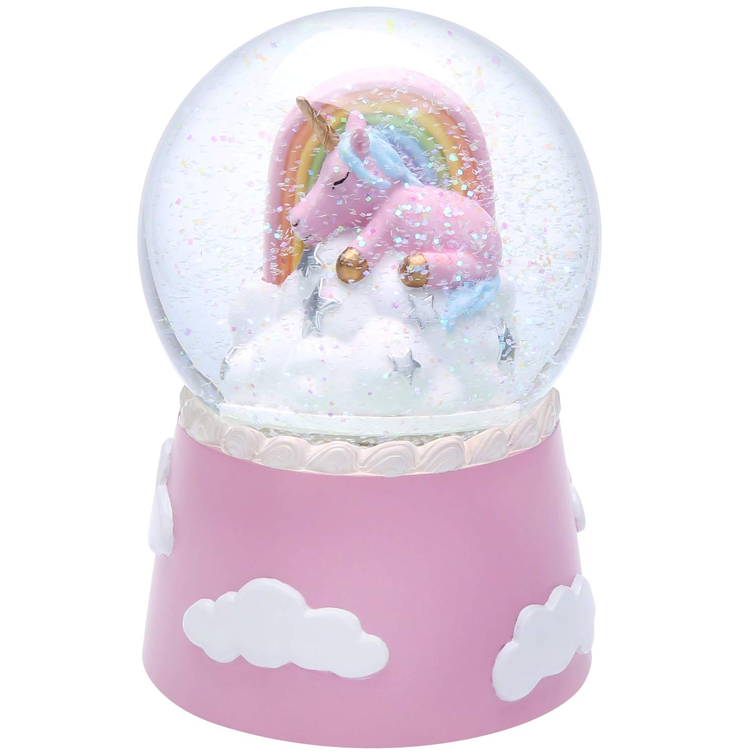 J JHOUSELIFESTYLE Unicorn Snow Globe for Kids, Sleeping Unicorn Rotating Inside as Music Plays, Perfect Unicorn Music Box for Girls, Granddaughters Babies Birthday - Pink by J JHOUSELIFESTYLE