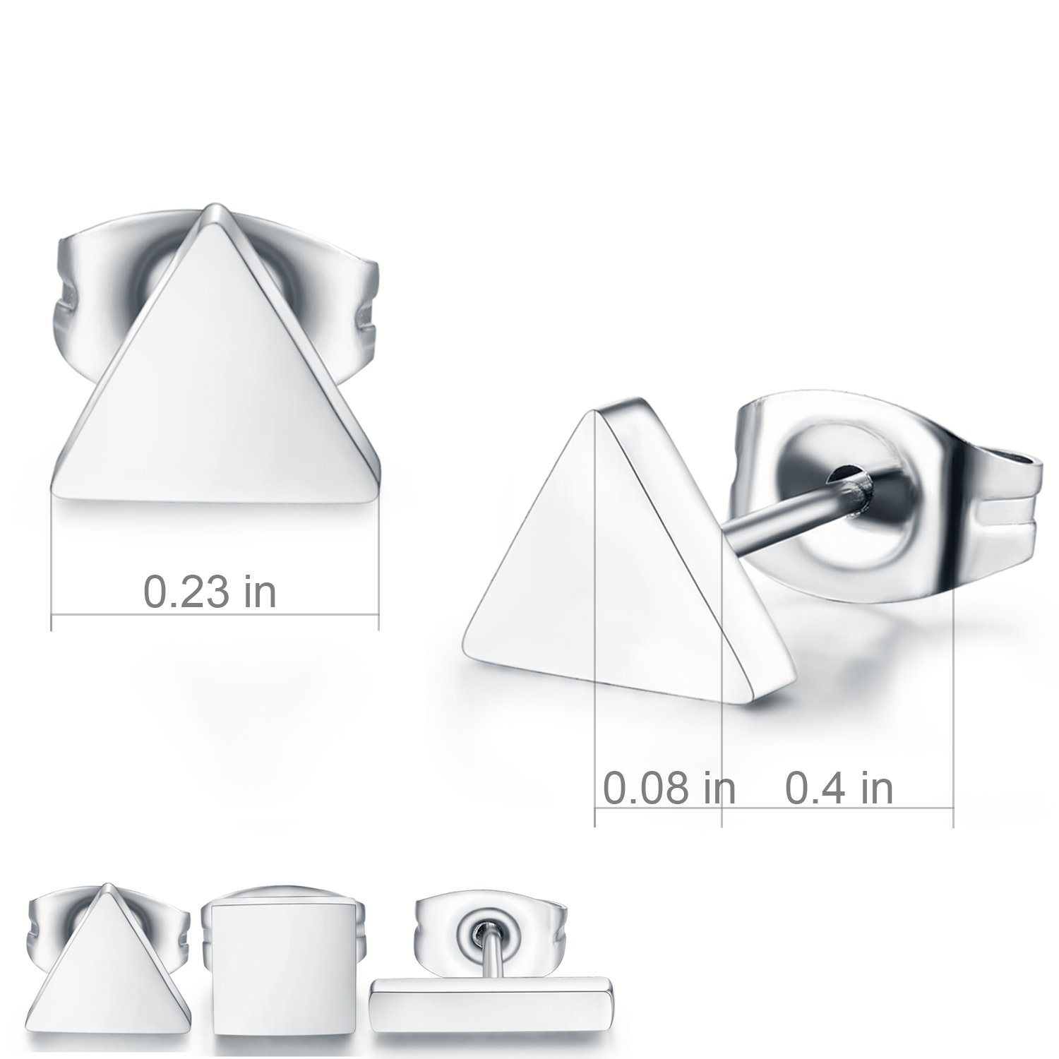 SPINEX 3 Pairs Silver Stud Earring Set Pierced (Rectangle, Square, Triangle) by SPINEX (Image #3)