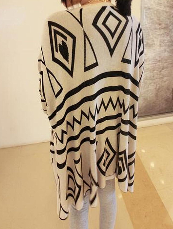 DEHANG Womens Casual Batwing Sleeve Geometric Striped Knitwear Cardigan