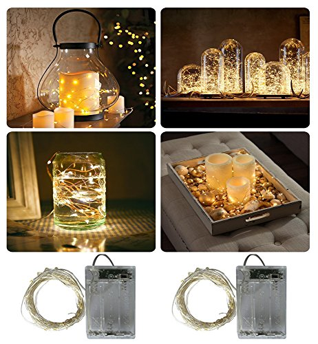 2 Pack Fairy Lights Battery Operated, 6.6ft Silver Wire String Lights 2meters 20 LEDs 2 Mode Fairy Lights for Bedroom Christmas Party Decoration (Warm White)