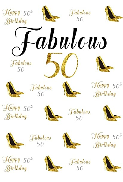 Amazon AOFOTO 6x8ft Happy 50th Birthday Background Fabulous 50 Years Old Party Decoration Photography Backdrop Abstract High Heeled Shoes Banner