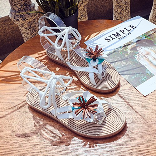 open SHINIK piatte cinghie da stile toe Sandali Scarpe donna casual Fiore per National New donna A BB87qr