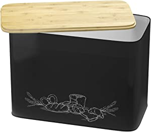 Extra Large Space Saving Vertical Black Bread Box With Eco Bamboo Cutting Board Lid - Holds 2 Loaves - Black Extra Large Farmhouse Decor Breadbox Bread Holder By Cooler Kitchen