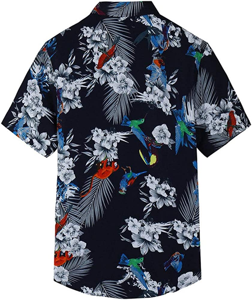 EELa Mens Short Sleeve Printed Floral Flower Casual Button Down Shirt Summer Hawaiian M