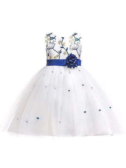 68065448ce3f4 Eleasica Enfant Fille Haute Qualité Robe de Bal Princesse Col Rond Fleur  Dentelle sans Manches Robe
