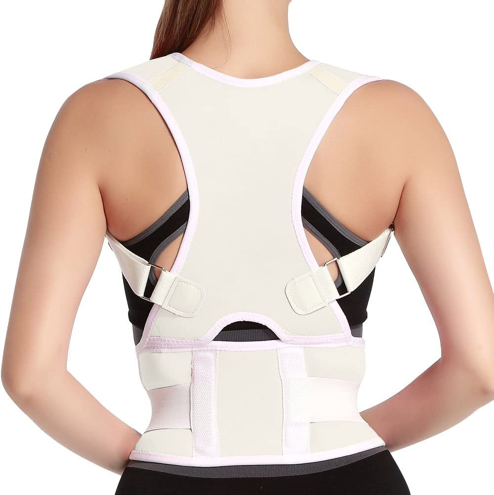 Back Posture Corrector Adjustable Clavicle Brace Correct Shoulder Posture Support Strap for Women Men Improve Posture Correction Computer Sitting Work Prevents Slouching Size S White