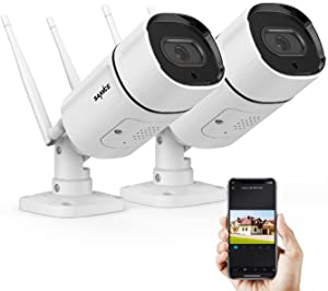 2K/3MP Wireless IP Camera, SANNCE Super HD Outdoor Wireless Home Security Camera 2Way Audio Remote Monitor Customized Alarm with SD Slot (2Pcs)