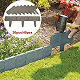 KINGSO Garden Border Edging Stones Set of 20 Stones Stone Effect Cobbled Plastic Lawn Border Edging Garden Plant Border Fence for DIY Home Garden Decoration