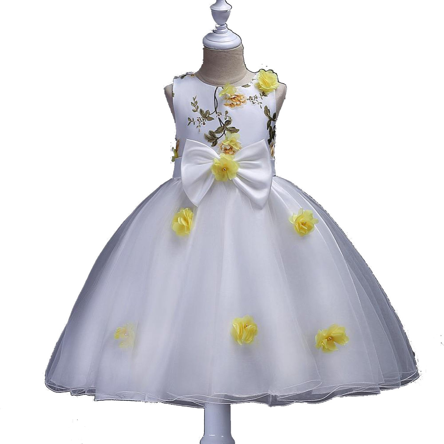 Toping Fine girl dress Flower Girl Dresses Butterfly Flowers Girls Dresses for Wedding Birthday Party,Picture Yellow,Child-5