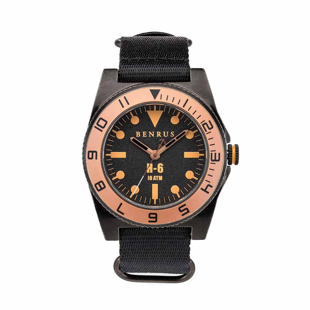 Amazon.com: BENRUS Mens BR012-E H-6 Watch with Black Nylon Strap: Watches