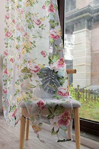 Pastoral Floral Sheer Voile Curtain