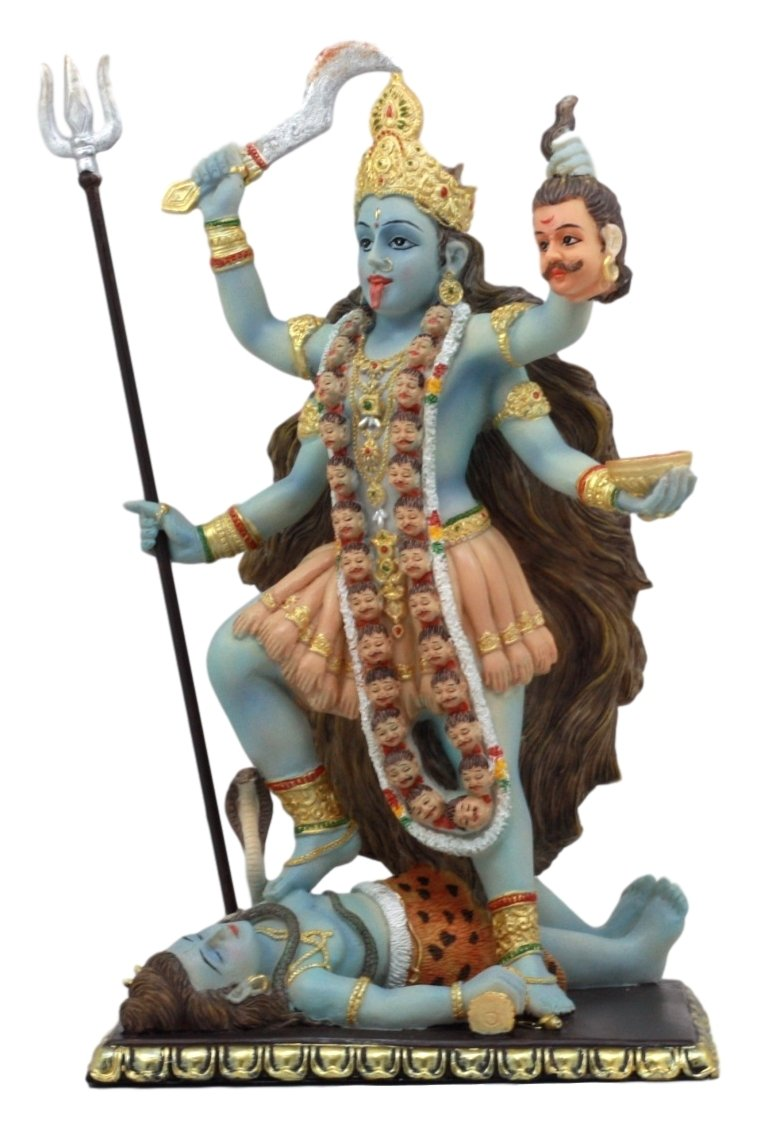 Atlantic Collectibles Mahavidya Devi Kali Holding Severed Head Of The Ego Figurine 9''Tall In Vivid Colors Hindu Goddess Of Time And Death Eastern Enlightenment Altar Decor