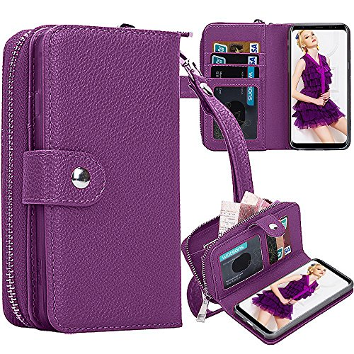 Galaxy S8 Plus Wallet Case, Pasonomi Samsung Galaxy S8+ / S8 Plus PU Leather Protective Shell Detachable Folio Flip Holster Carrying Case with Card Holder for Samsung Galaxy S8+ Plus 2017 (Purple)