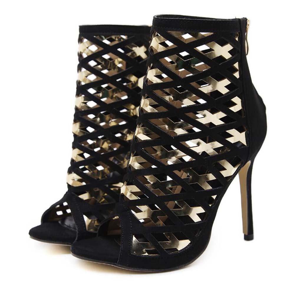 Frauen-kühle Stiefel 11cm Stilett-Peeptoe-hohle Kleid-Schuhe hübscher Farbgleiches Reißverschluss-Hof beschuht Partei-Rom-Schuhe Eu-Größe 34-40