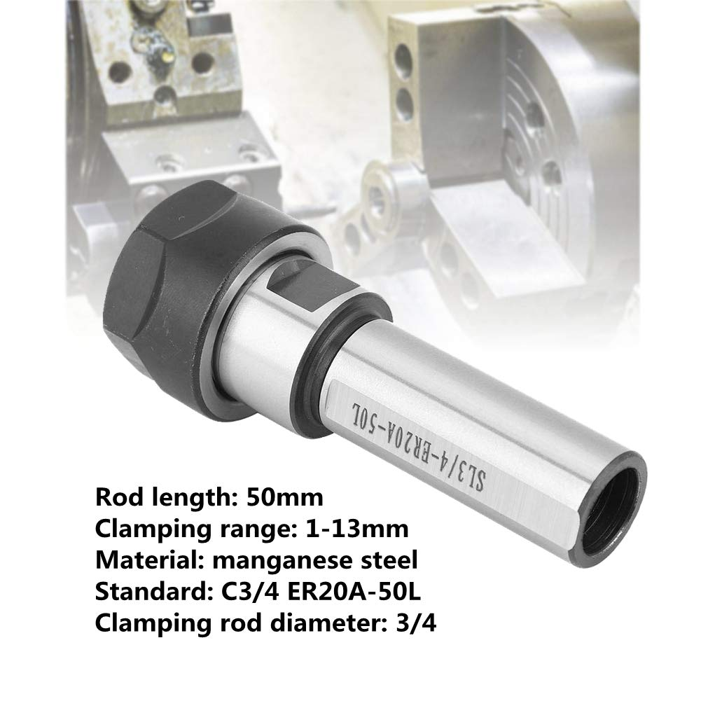 C3//4-ER20A-50L Straight Shank Collet Chuck Holder Milling Extension Rod