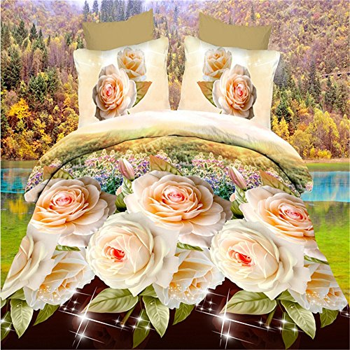 GAW Home Fashion 3D Polyester Fiber 4-Piece Duvet Cover B...