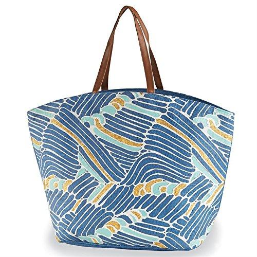 Mud Pie Women's Fashion Resort Wear Seven Seas Tote Bag (Blue Waves)