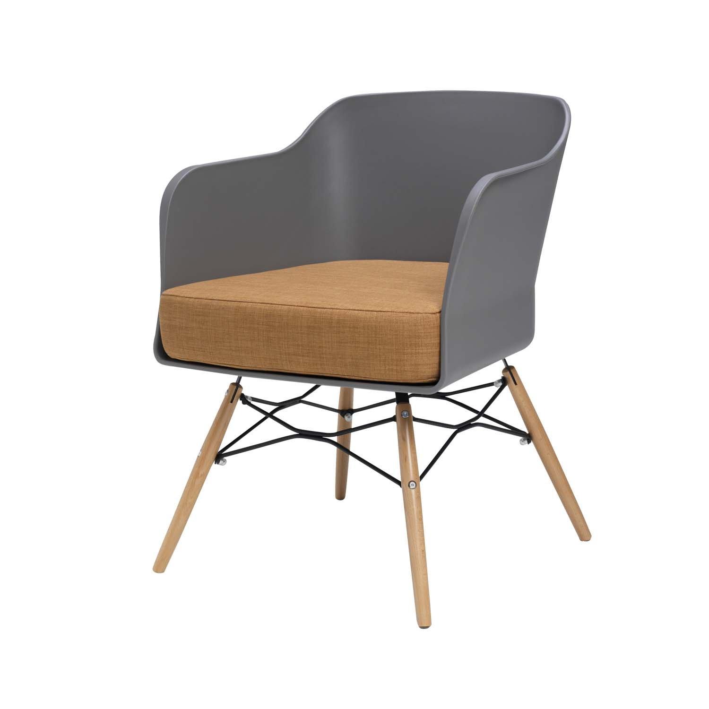 BUTIK Design Esszimmerstuhl Cooper, 6-er Set, 77 x 61 x 49 cm, braunes Sitzkissen aus hochwertiger Baumwolle, plastik grey