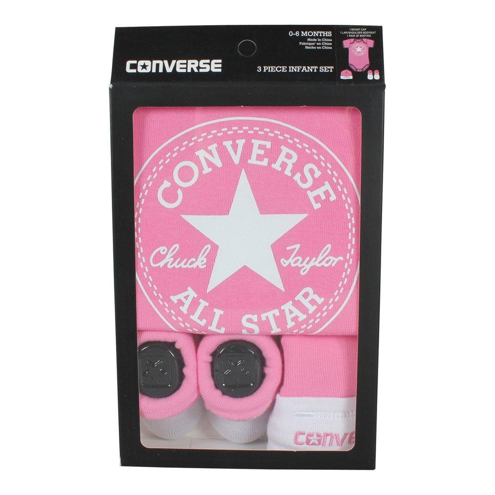 Converse Babykleidung Erstausstattung Baby Geschenkset 3er Gift Set Rosa 0-6 Monate