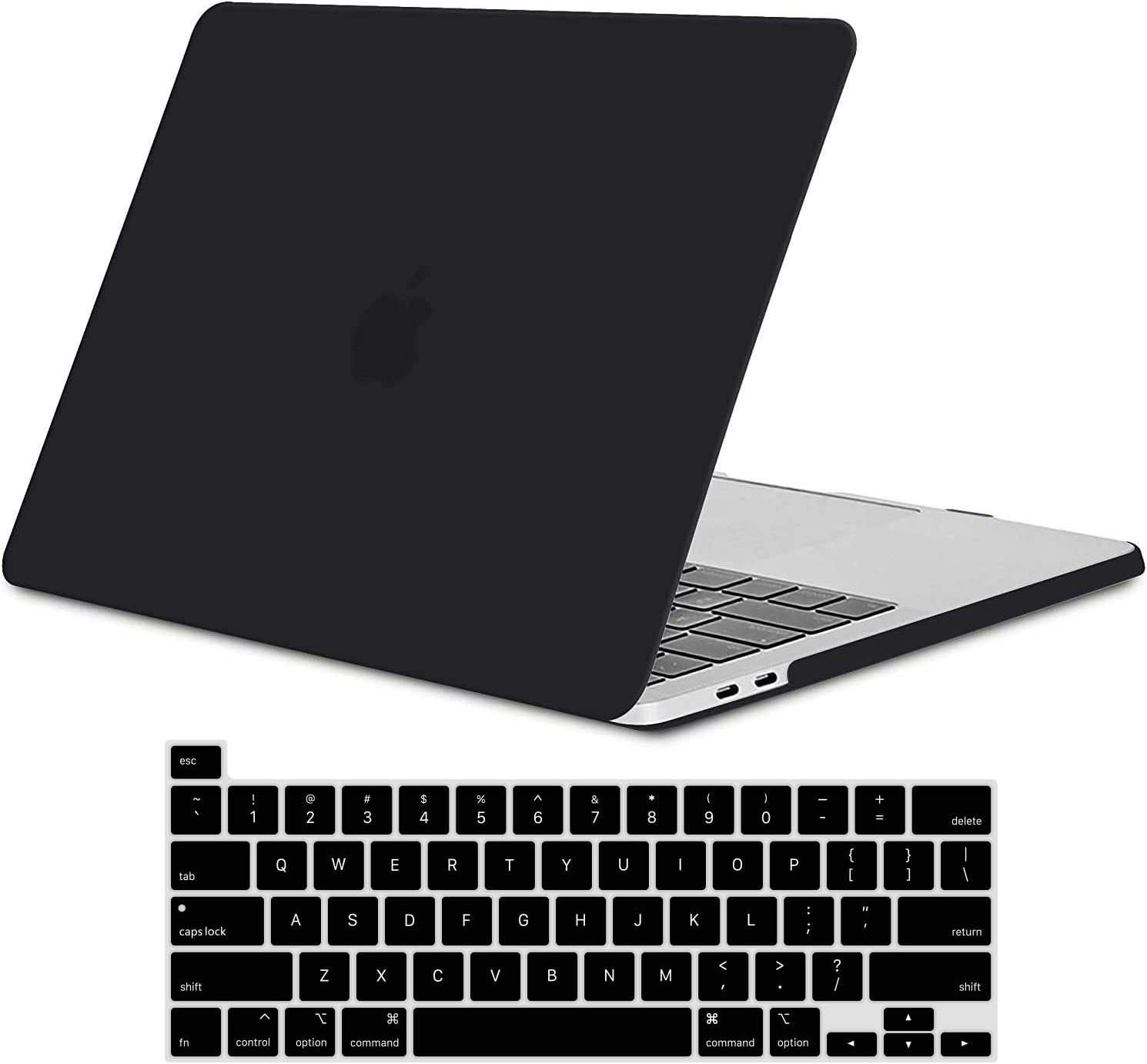 TECOOL New 2020 MacBook Pro 13 Inch Case A2338 M1 A2289 A2251, Slim Hardshell Case & Keyboard Cover for Apple MacBook Pro 13 Touch Bar Touch ID Release 2020, Matte Black (Translucent)