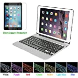 PinPle iPad Pro 12.9 Keyboard Bluetooth with 7 Colors LED Backlit Slim Aluminum Wireless Keyboard with Clamshell Protective Case & Free Tempered Glass Screen Protector (Silver)