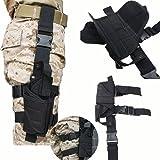 AGPtek Etui à Pistolet Holster De Cuisse Pistolet Jambe pour Armée Tactique En Nylon Noir et Réglable