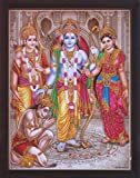HandicraftStore Ram Darbar, A Holy and Hindu Religious gathering of Lord Ram, Sita and Laxman, A Hindu Religious Poster painting with frame for Hindu Religious and Gift purpose.