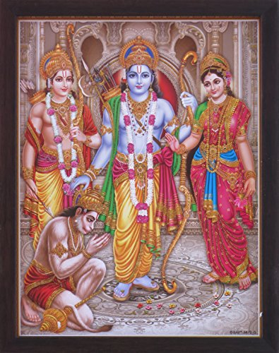 HandicraftStore Ram Darbar, A Holy and Hindu Religious gathering of Lord Ram, Sita and Laxman, A Hindu Religious Poster painting with frame for Hindu Religious and Gift purpose. by HandicraftStore