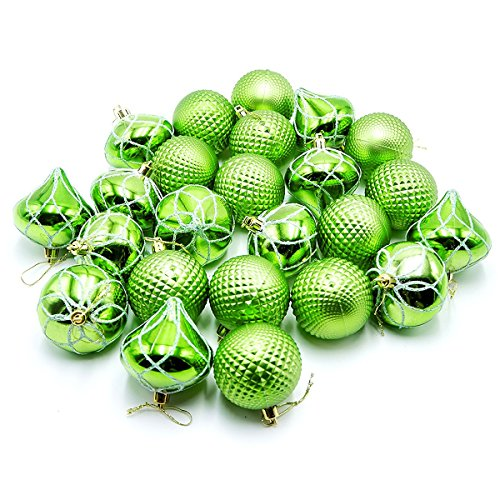 Woowell 24ct Christmas Balls 2.36/60mm Shatterproof Diversiform Ornaments, Tree Topper Decor Pendants for Xmas, Home, Party, Holiday (Green)