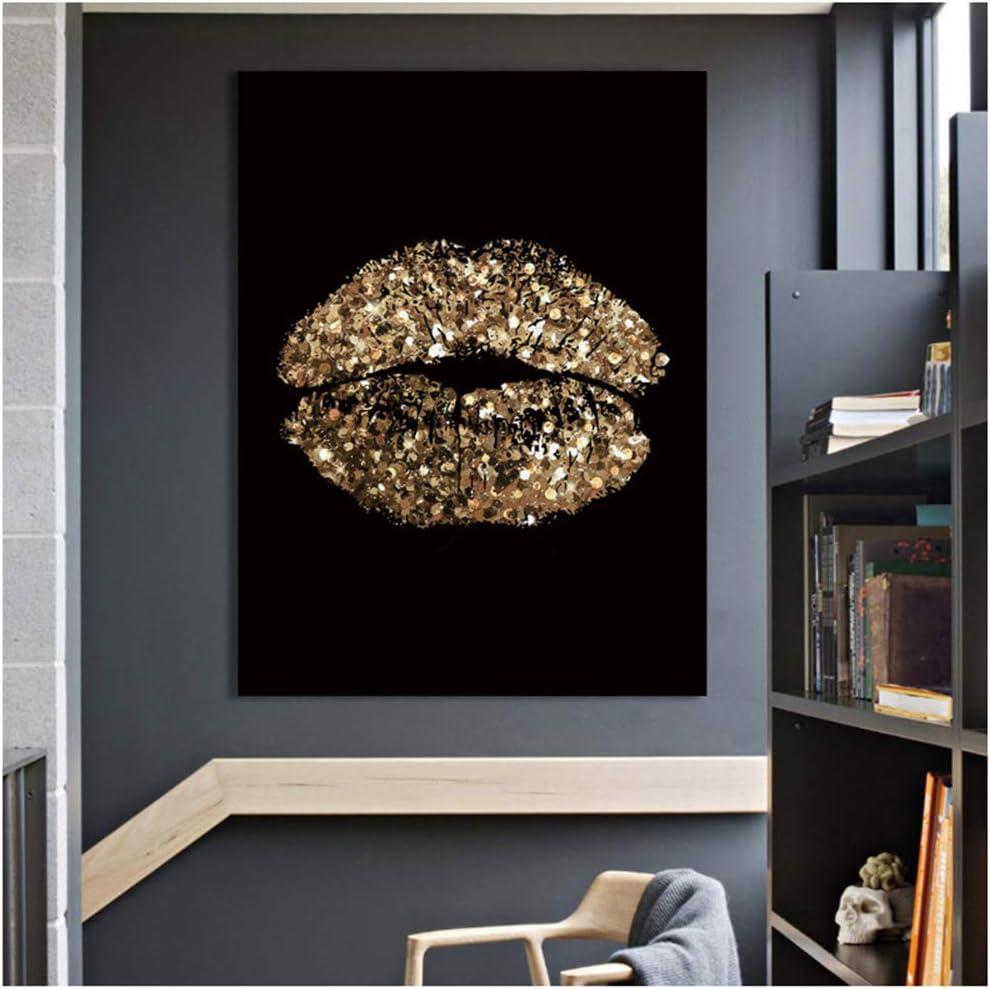 LJXIAOXINFBH Quadro su Tela Belle Labbra Immagine della Parete Stampa Artistica Poster Decorazioni per la casa Moderne 40x60 cm con Cornice Oro
