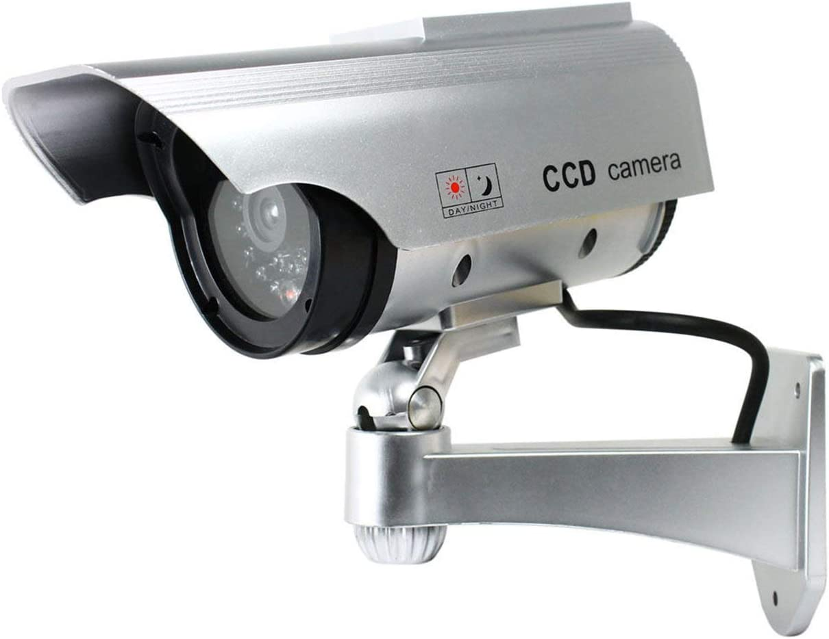 Negro Tree-on-Life Energ/ía Solar LED C/ámara CCTV C/ámara de Seguridad Falsa Vigilancia simulada al Aire Libre