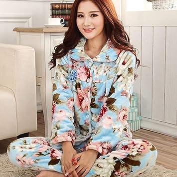 b06a06c294ca SALICEHB Pijamas De Las Mujeres del Otoño Fija El Collar Turn-Down Femenino  Ropa De Noche Completa para Los Pijamas De Las Mujeres Trajes Caseros del  ...