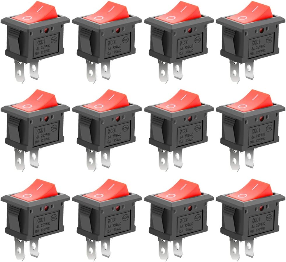 12x KCD3 Red Button On-Off 3Pin DPST Boat Car Rocker Switch 15A\20A 250V\125VAC