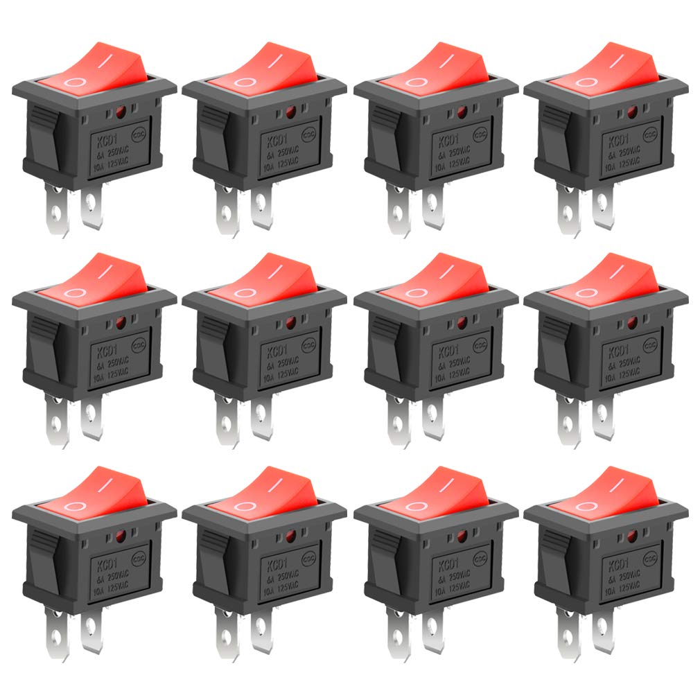 MXRS 12 Pcs SPST Snap-in ON-Off 2 Pin Snap Rocker Boat Switch Black AC 250V 6A 125V 10A for Car Auto Boat Household Appliances(Red Button)