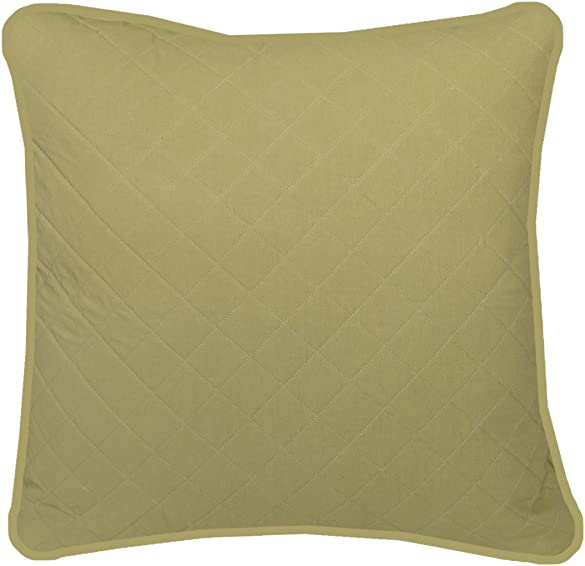 Heritage Lace Green Farmhouse 22 x22 Quilted Pillow, 22 x 22