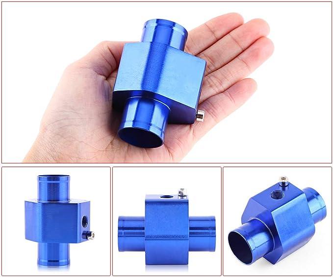 Vgeby Auto Wasser Temp Temperatur Gemeinsame Rohr Sensor Aluminum Kühlerschlauch Adapter 26 40mm Blau Abmessung 34mm Auto