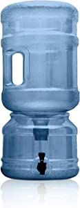 BPA FREE Water Dispenser Base with Spigot & 5 Gallon Water Jug Set - Transparent Blue - For Countertops or Stands - Complete Set