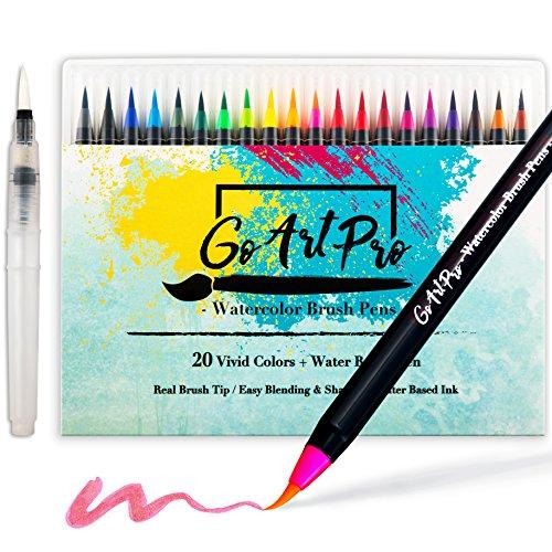 Watercolor Brush Pens by GoArtPro | Set of 20 Color Soft Flexible Real Brush Pens + BONUS Watercolor Pen | Brush Tip Markers for Adult Coloring Books, Manga, Comic, Calligraphy