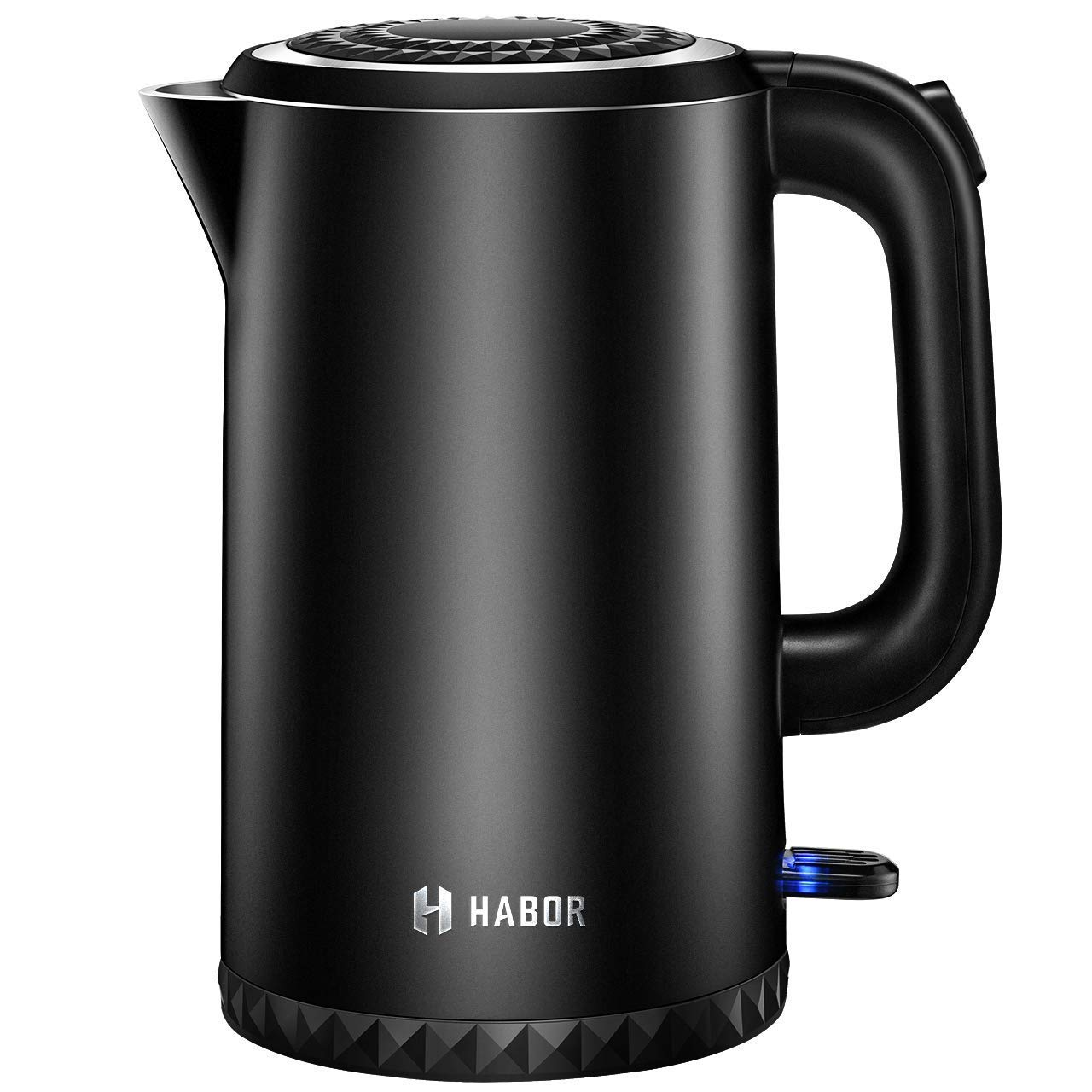 Stainless Steel Kettle, Habor Electric Kettle Fast Boiling Water Heater, Double Wall Tea Water Kettle with Led Indicator, Auto Shut Off Boil Dry Protection, 3-Year Warranty