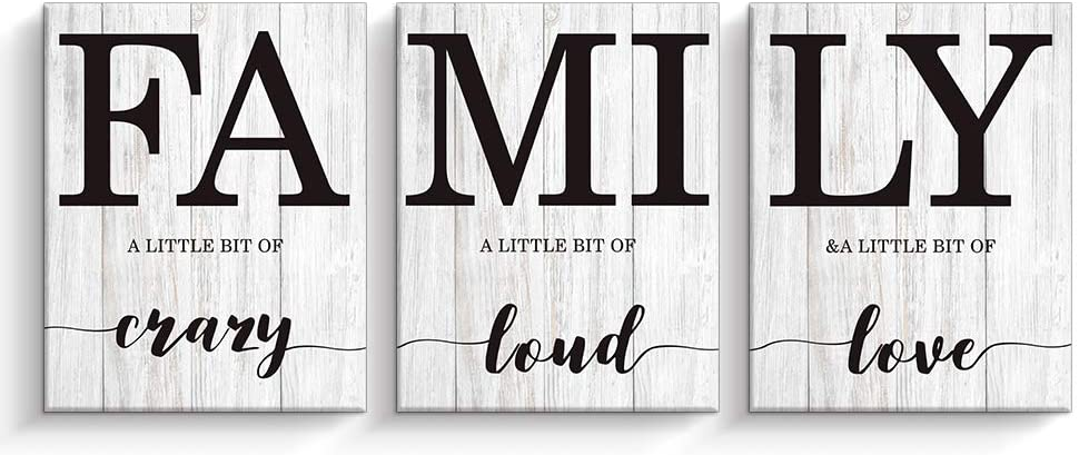 Kas Home Family Wall Decor, Wall Art for Living Room Set of 3 Inspirational Canvas Prints, Framed Wood HD Modern Background Home Decor (Family-3W, 12 x 15 x 3)