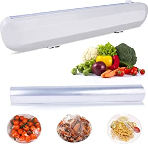 Plastic Wrap Dispenser with Cutter,Slider for Food Freshness Dispenser ChicWrap Transparent Plastic Wrap Packaging 12 inches Long Smoothly Cutting, Home Kitchen Suppy Food Wrap Included