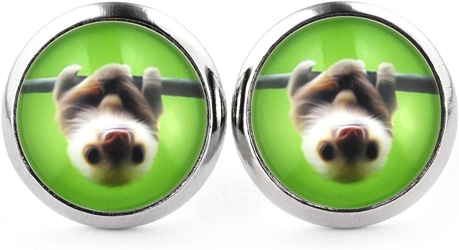Ohrstecker Faultier Tiere Damen Ohrringe Ohrschmuck Modeschmuck Cabochon Glas