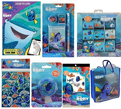 Finding Dory Activity Gift Set with Coloring Book, 9 Roll Sticker Box, Puffy Stickers, 4pc Study Kit, Temporary Tattoos, YoYo and Gift Bag
